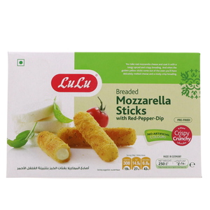 Lulu Breaded Mozzarella Sticks With Red Pepper Dip 250g