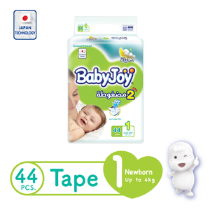 BabyJoy Compressed Tape Diaper Size 1 Newborn Value Pack Up to 4kg 44 Count