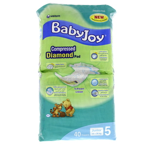 BabyJoy Compressed Tape Diaper Size 5 Junior Jumbo Pack 14-25 40 Count