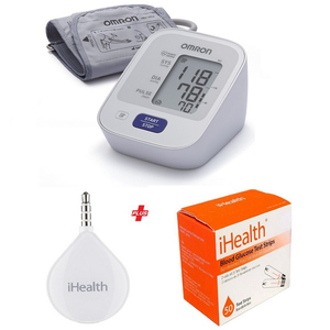 Omron Blood Pressure Monitor M2 Basic + I Health Glucometer + 50 Strips