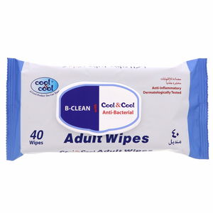 Cool And Cool Antibacterial Adult Wipes 40Wipes
