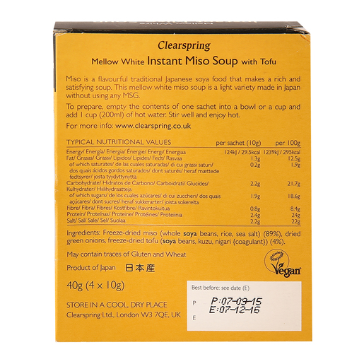 Clearspring Mellow White Miso Instant Soup with Tofu 40g