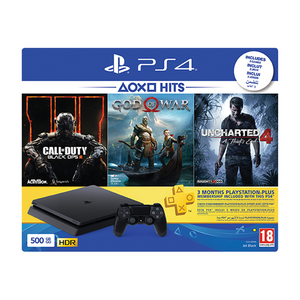 Sony PlayStation 4 500GB + Call of Duty Black Ops + God Of War + Uncharted 4 + PS Plus 90Days Subscription