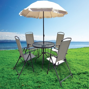 Royal Relax Round Table with 4Chairs + Umbrella ZRGS019