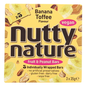Nutty Nature Fruit & Peanut Bars With Banana & Toffee Flavour 3 x 35g