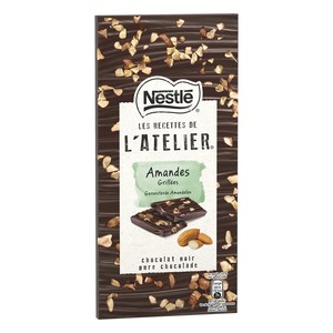 Nestle L'Atelier Dark Chocolate With Roasted Almonds 115g