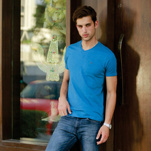 Eten Men's Basic Tee V-Neck Short Sleeve Deep Water