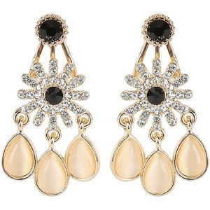 Eten Dangling Earring 1Pair (Black stone color may vary)