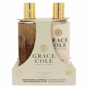 Grace Cole Soothing Bath Shower Gel 300ml + Moisturising Body Lotion 300ml Vanilla Blush And Peony