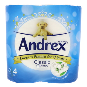 Andrex Classic Clean Tissue Roll 4pcs