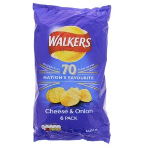 Walkers Cheese & Onion Chips 6 X 25g