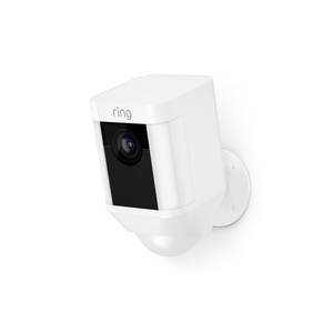 Ring Spotlight Battery Operated HD Security Camera with Built Two-Way Talk and a Siren Alarm, White