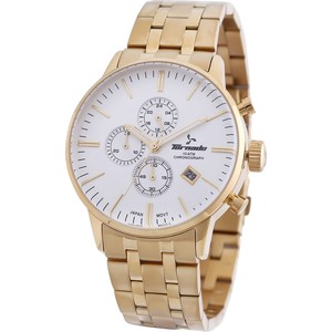 Tornado Men's Chronograph Watch White Dial Stainless Steel Gold Band- T6102-GBGW