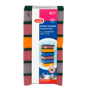 Lulu Multi Colour Sponge Scourer 6pcs