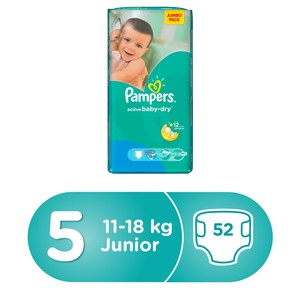Pampers Active Baby Dry Diapers, Size 5, Junior, 11- 16kg, Mega Pack, 52pcs