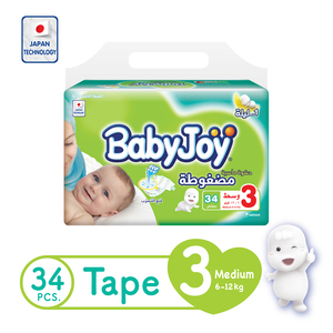 BabyJoy Compressed Tape Diaper Size 3 Medium Value Pack 6 - 12kg 34 Count