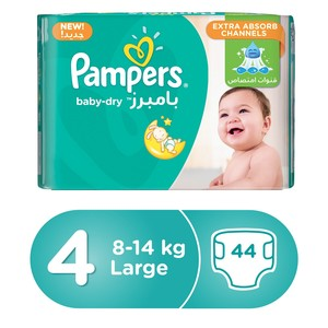 Pampers Baby-Dry Diapers, Size 4, Maxi, 9 -14 kg Jumbo Pack, 44 Count