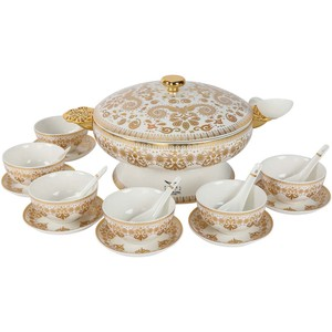Pearl Noire Porcelain Soup Set 22pcs
