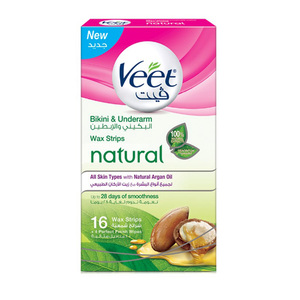 Veet Hair Removal Natural Bikini & Under Arms Wax Strips Argan Oil 16pcs