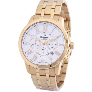 Tornado Men's Chronograph Watch White Dial Gold Band T6103-GBGW