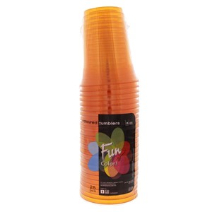 Fun Coloured Plastic Cup Orange 25pcs