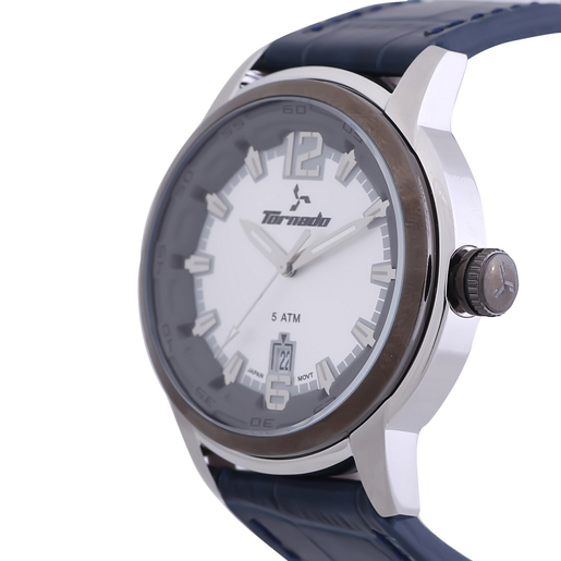 Buy Tornado Men's Analog Watch Silver Dial Leather Band