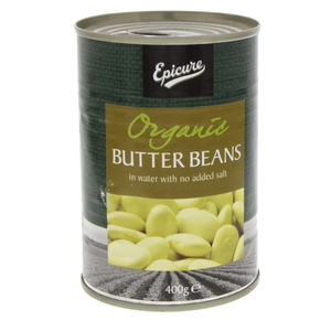 Epicure Organic Butter Beans In Water With No Added Salt 400g