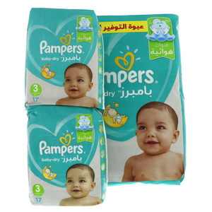 Pampers Active Baby Dry Diapers, Size 3, 6 -10kg, 88pcs + Carry Pack 2pcs
