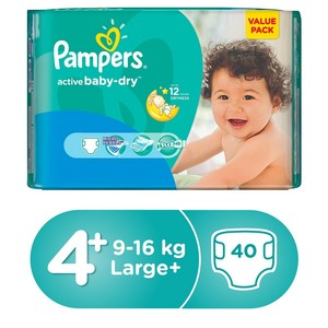 Pampers Active Baby Dry Diapers, Size 4+, Maxi Plus, 9-16kg, Value Pack, 40pcs