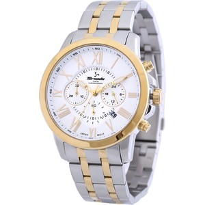 Tornado Men's Chronograph Watch White Dial Two Tone Band T6103-TBTW