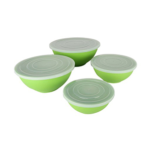 Home Bamboo Salad Bowl with Lid 4pcs JH0062 Assorted Color