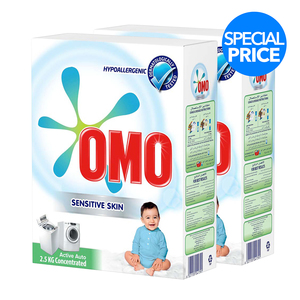 OMO Washing Powder Sensitive Skin Active Auto Concentrated 2.5kg x 2's