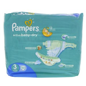 Pampers Active Baby-Dry, Size 3, Medium, 4-9kg 34pcs Count
