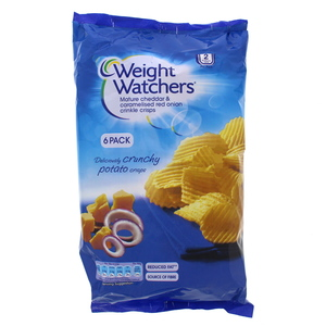 Weight Watchers Mature Cheddar & Caramelised Red Onion Crinkle Crisps 6 x 16g
