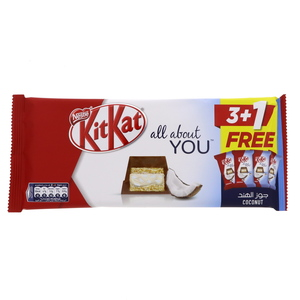 Nestle Kit Kat All About You 5 Finger Coconut Chocolate Bars 4 x 40g