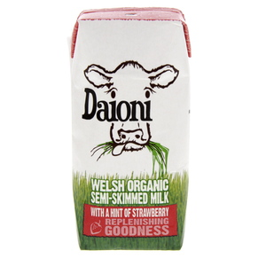 Daioni Welsh Organic Semi-Skimmed Milk With A Hind Of Strawberry 200ml