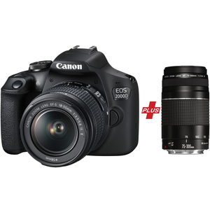 Canon DSLR Camera EOS2000D 18-55mm IS + 75-300mm DC Lens