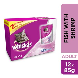Whiskas Purrfectly Fish with Shrimp, Pouch Multipack 85g x 10 +2free