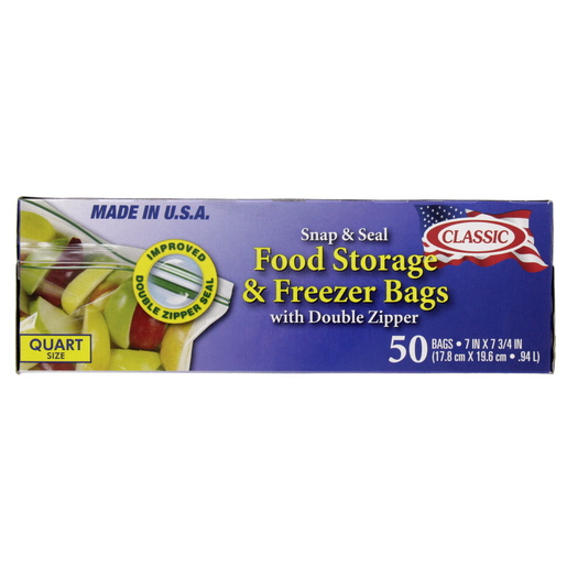Classic Snap & Seal Food Storage & Freezer Bags 1Quart Size 17.8x19.6cm 50pcs