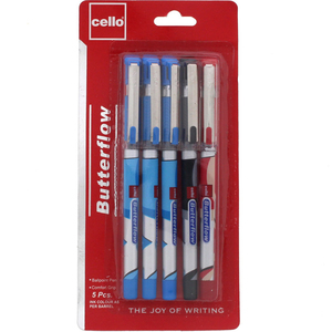 Cello Butterflow Ball Pen 5's Assorted Ink