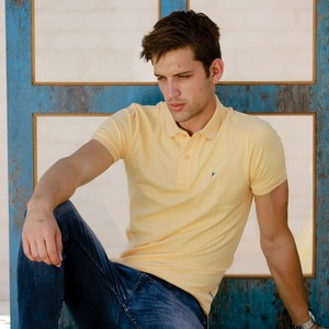 Eten Men's Basic Polo Tees Short Sleeve Apricot Sherbat