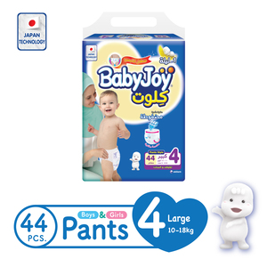 BabyJoy Culotte Pants Diaper Size 4 Large Jumbo Pack 10-18kg 44 Count
