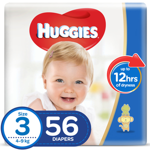 Huggies Diaper Comfy Fit Size 3, Medium 4-9kg 56pcs