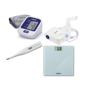 Omron BP Monitor M2 Basic + Digital Sacle + Nebulizer 803 + Thermometer Eco Temp