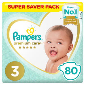Pampers Premium Care Diapers Size 3 Midi 6-10 kg Super Saver Pack 80 Count