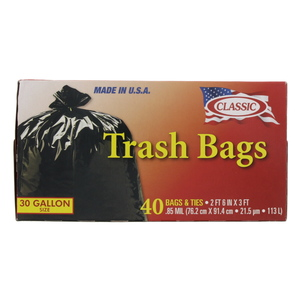 Classic Trash Bags 30Gallon 40pcs