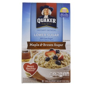 Quaker Instant Oatmeal Lower Suger  Maple And Brown Suger 340g