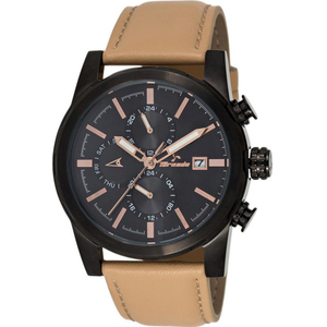 Tornado Men's Multi-Function Black Dial Leather Band Watch- T5193-BLCB