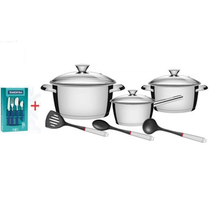 Tramontina Stainless Steel Cookware Set 9pcs + Cutlery 24pcs
