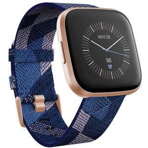Fitbit Versa 2 Special Edition Health and Fitness Smartwatch Navy & Pink Woven/Copper Rose Aluminum